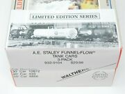 Ho Scale Walthers 932-9104 Aesx Ae Staley Funnel-flow Tank Car Kit 3-pack Sealed