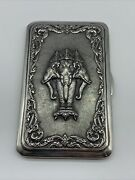 Sterling Silver Cigarette Case With 3 Headed Elephant