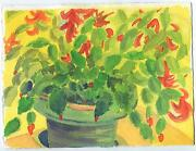 Vintage Abstract Christmas Cactus Plant York Maine Listed Artist Art Painting