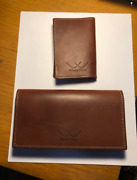 White Wing Leather Card Holder And Checkbook Cover