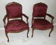 Ethan Allen Pair Of Country French Accent Arm Chairs Carved Burgundy Red