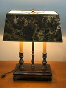 Vintage Artemis Studio Student Double Lamp W/rare Shaped Shade, Wooden Base