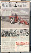 1936 Massey Harris Farm Tractor And Plow 7x13 Mh Advertisement Boarded And Sealed