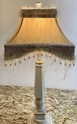 Vintage Fringe Beaded Victorian Silk Dupioni Fabric Tapestry Lamp Shade Only