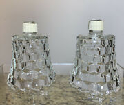 2 Clear Glass Honeycomb Votive Cup Geometric Candle Sconce Home Interior New
