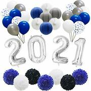 Graduation Decorations 2021 Party Balloons New Years Eve Supplies Hanging Tis...