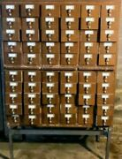 Vintage 1960and039s Brodart Standing Library Card Catalog File 60 Drawers. Rare