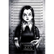 Busted Wednesday Marcus Jones Addams Family In Jail Tattoo Canvas Wall Art Print