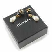 Earrings Coco Mark Pearl Swing Black White Gold 95a Used With Box