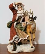 Home Interiors 18 Old World Santa And Deer ©2005 Mint In Box Large Resin Figure