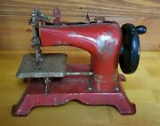 Antique Vintage Small Childand039s Red Toy Sewing Machine