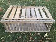 Vtg Large 35x23x11 Primitive Wooden Wood Chicken Crate Carrier Box Cage Coop