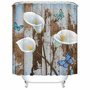Rustic Flower Shower Curtains Set Calla Lily Bathroom Curtains White Floral F...