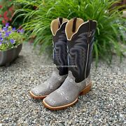 R. Watson Menand039s Natural Ring Lizard Square Toe Western Boots Rw7900