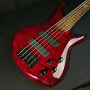 Used Roscoe Skb Custom 3005 Red Flame Maple 5 String Bass With Case