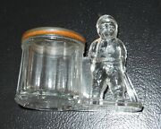Rare 1900's Baseball Glass Candy Container Pin Coin Bank By Barrel Honus Wagner