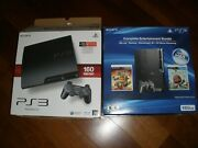 Playstation 3 Console Bundle Games Cords Controller Console Box Works 160gb Slim