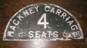 Vintage Hackney Carriage 4 Seat Plate Sign London Taxi Black Cab