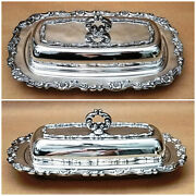Ornate Silver Plate Butter Dish And Glass Insert, Vintage Wm A Rogers-oneida