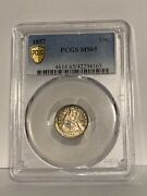 1857-p U.s. Seated Liberty Dime Graded Ms65 By Pcgs