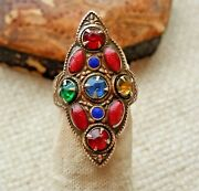 Antique Deco Jeweled Glass Enamel Tall Pinky Ring Size 3 Approx. Estate Lot