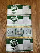 4 Antique Vintage Quaker State Oil Can Metal One Quart Dated Sign Clean