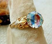 Antique Deco Iris Glass Ring, Insect Motif At Shoulders Size 7.25 Estate Lot