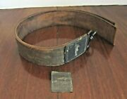 Antique Shumate Razor Brass Label And 84 Leather Straight Strop - 2 Straps