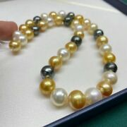 10-12 Mm Natural Baroque Tahitian South Sea Multi-color Pearl Necklace