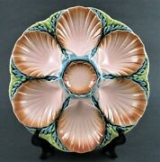 Antique Sarreguemines Majolica Oyster Plate Ribbed Scallop Shell Wells And Seaweed