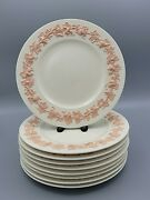 10 Wedgwood Embossed Queenandrsquos Ware Pink On Cream 10 3/4andrdquo Dinner Plates