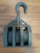 Vintage Wooden Block And Tackle 3 Steel Wheel Pulley Hook Steampunk Sailing