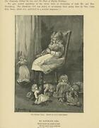 Antique Victorian Child Girl Blonde Hair Playing Doll High Chair Old Art Print