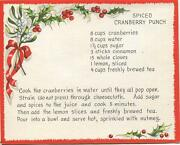 Vintage Christmas Spiced Cranberry Punch Recipe 1 Victorian Village Houses Card