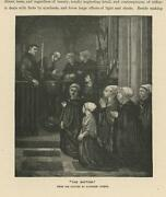 Antique Church Priest Dances Woman Praying Baptism Infant Baby Mother Old Print