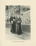 Antique Priest Walking Cane Rosary Beads In Art Gallery Comical Old Small Print