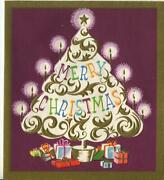 Vintage Christmas White Gold Scroll Work Tree Candles Purple Mauve Greeting Card