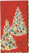 Vintage Christmas White Tree Gold Ornaments Stars Red Embossed Greeting Art Card