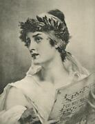 Antique Grecian Roman Gorgeous Woman With Song Sheet Remarque Engraving Print