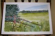 Vintage Meadow Pine Tree Summer Poppies Green Grass Folk Art Naive Painting
