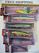Lot Of 6 Rapala Husky Jerks Stickbaits Nip Mixed Colors And Sizes Fishing Lures