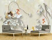 3d Silver Lotus Leaf Kep9032 Wallpaper Mural Self-adhesive Removable Sticker Kay