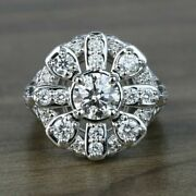 Antique Victorian Edwardian Engagement Ring 3.12 Ct Diamond 14k White Gold Over