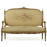 French Louis Xvi Style Carved Giltwood Antique Settee Loveseat Sofa, C. 1900