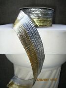 D. Stevens Silver And Gold Tinsel Stripe Ribbon 20 Yards Nwt