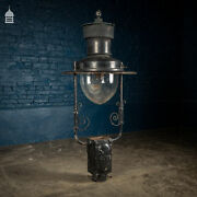19th C Black Painted Copper Top Lampost Light Fitting