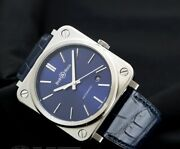 Bell And Ross Womenand039s Watch Br S-92 Blue Dial Leather Band Automatic 39mm Ss New
