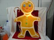 Vintage Christmas Blow Mold Gingerbread Man W Cane Yard Decor Union Products