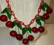 Beautiful Art Deco Red Cherries Green Leaves Chain Link Red Lucite Necklace 19