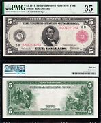 Amazing Rare Crisp Choice Vf++ 1914 5 New York Red Seal Frn Note Pmg 35